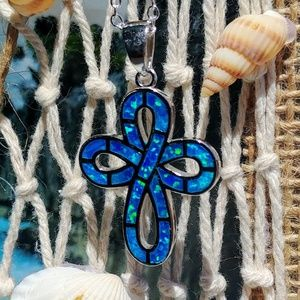 🆕🕊️ Blue Fire Opal Cross